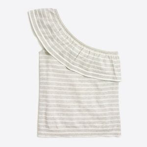 J. CREW Striped one-shoulder ruffle sweater Size M